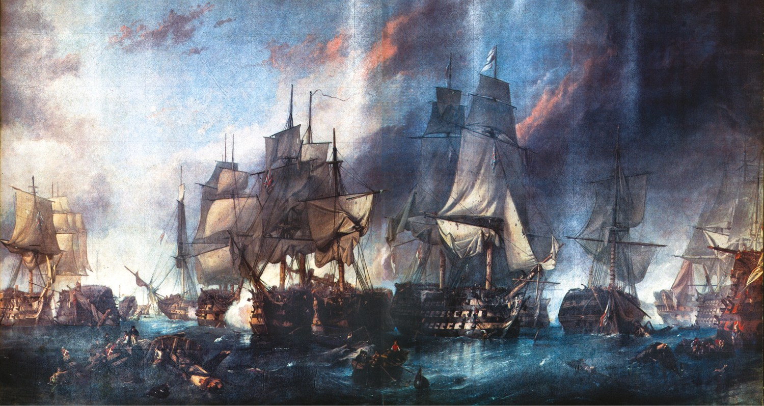 Right Nelson wanted 'a pell-mell battle': each captain was to bring his ship as close to the enemy as possible and destroy them with point-blank broadsides. Here the Redoubtable is trapped and battered into submission between the Victory and the Temeraire.