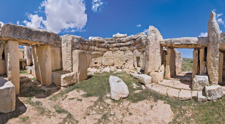 Above The Mnajdra temple, on Malta's southern coast, 3000-2500 BC.