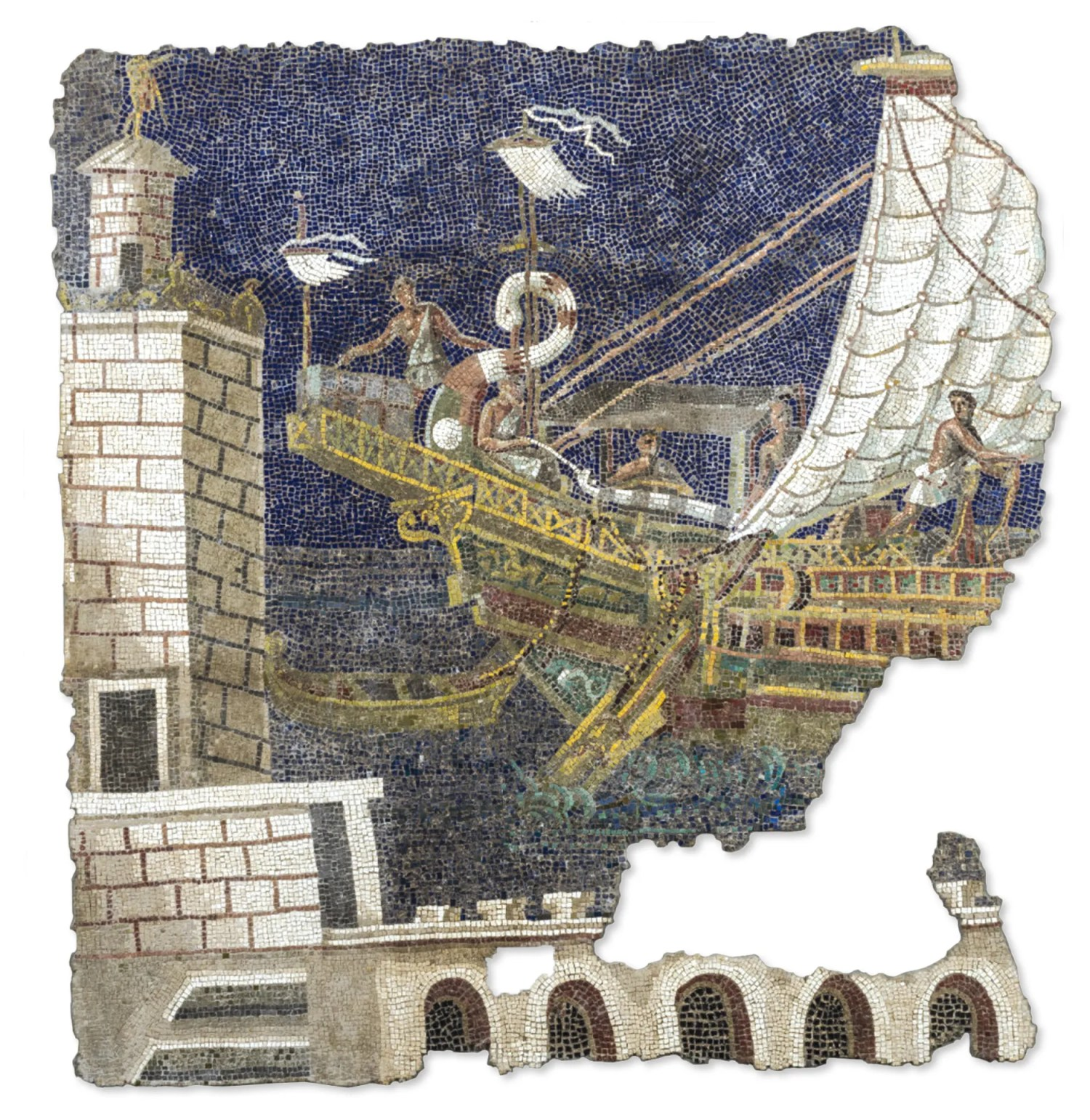 OPPOSITE Polychrome wall mosaic showing a harbour and ship, found in the garden of Palazzo Rospigliosi-Pallavicini in 1876, during construction work on Rome's Via Nazionale. Late 2nd / early 3rd century