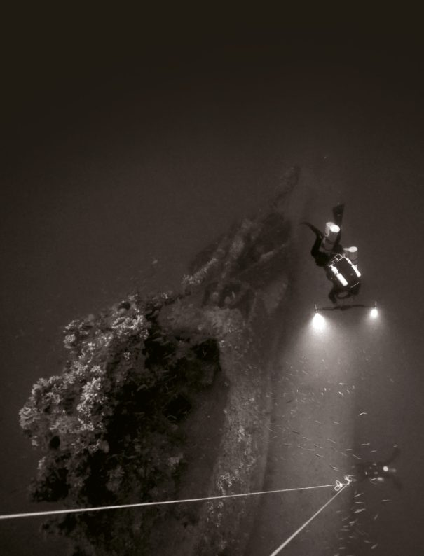 Above Divers explore the shipwreck of HMS Olympus off the coast of Malta.