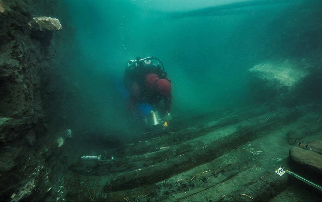 above A 2nd-century BC galley sunk by falling blocks from a temple has been found beneath 5m of clay and debirs at Thonis-Heracleion.