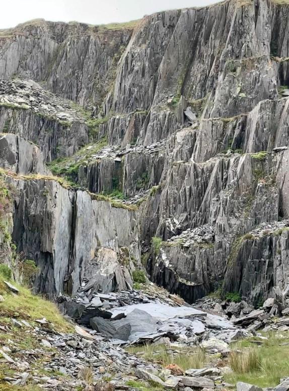 right The abandoned slate slab quarry at Gorseddau.