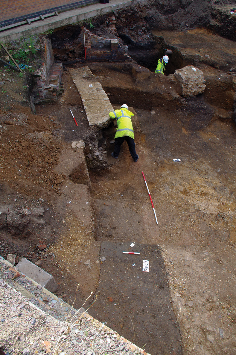 left & Below The remains of a curved public building, accompanied by a small apsed structure, have been interpreted as possibly representing a Roman theatre the first to be found in Leicester.