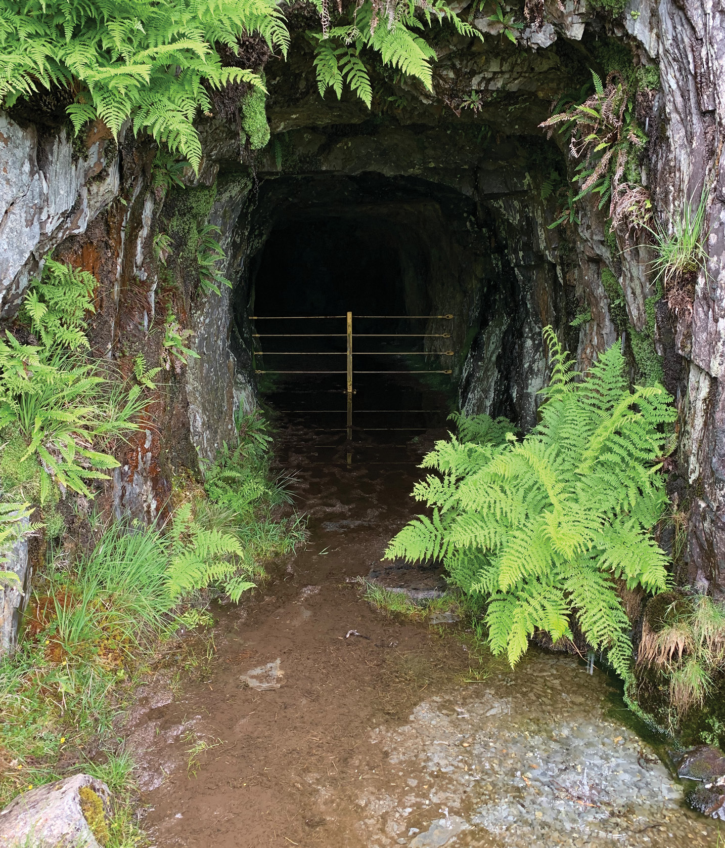 left The entrance to an underground slate cavern at the Prince of Wales quarry.