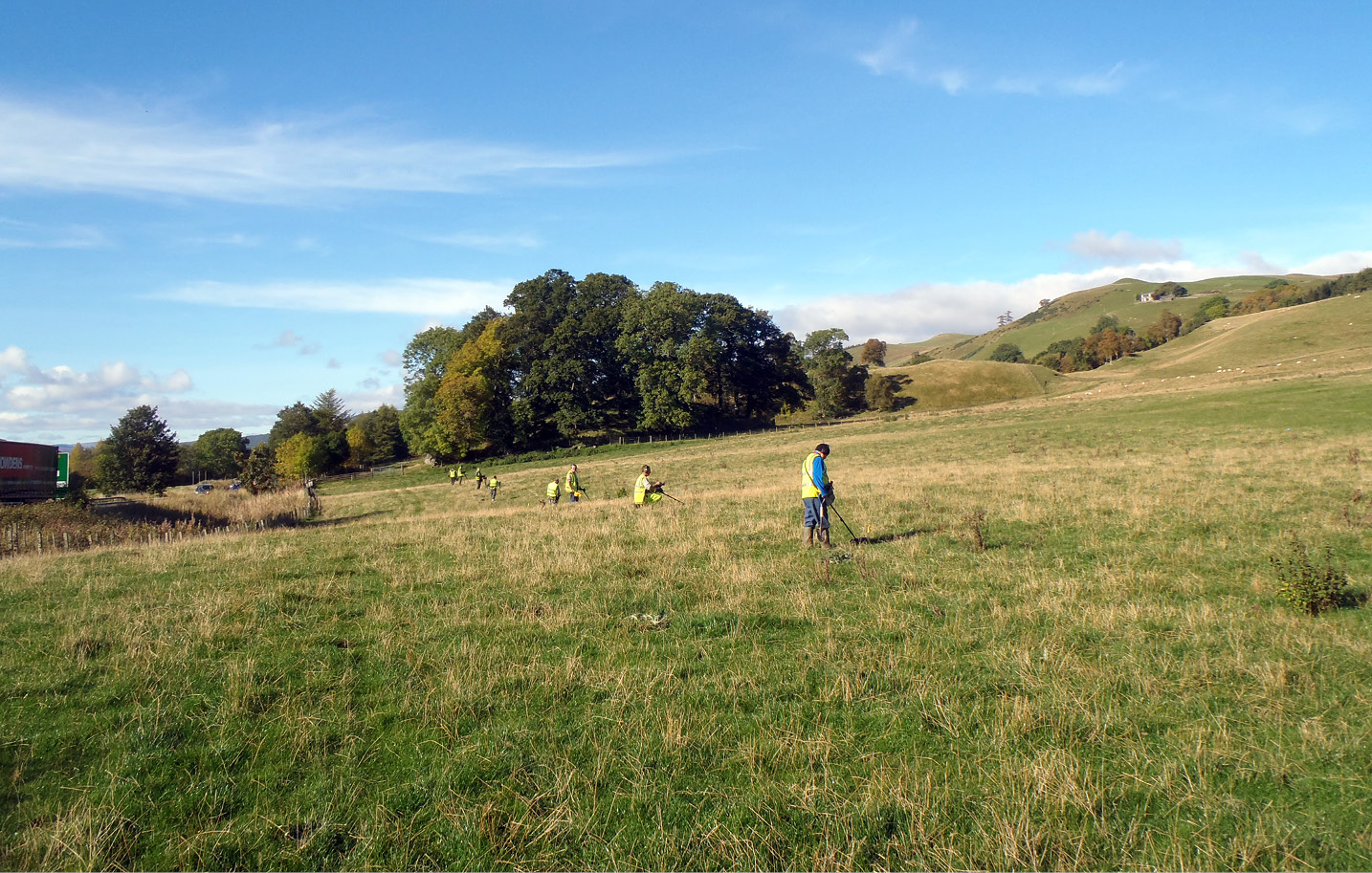 right Metal-detecting survey under way on the north-west side of the battlefield. The steep, naturally terraced ground would have provided the Jacobites with cover as they charged downhill. The density of finds suggests significant fighting in this area.