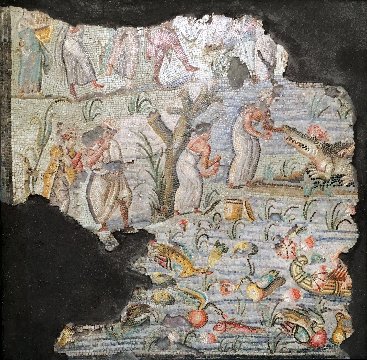 RIGHT Polychrome mosaic showing a Nilotic scene, found in 1882 in Via Nazionale. Second half of the 1st century BC.