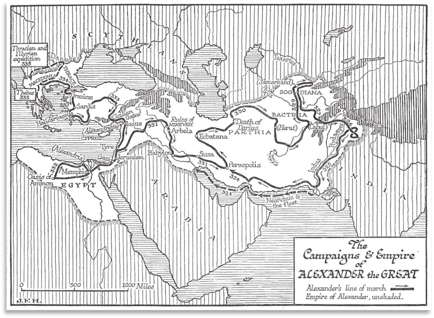 above Map showing the campaigns of Alexander.