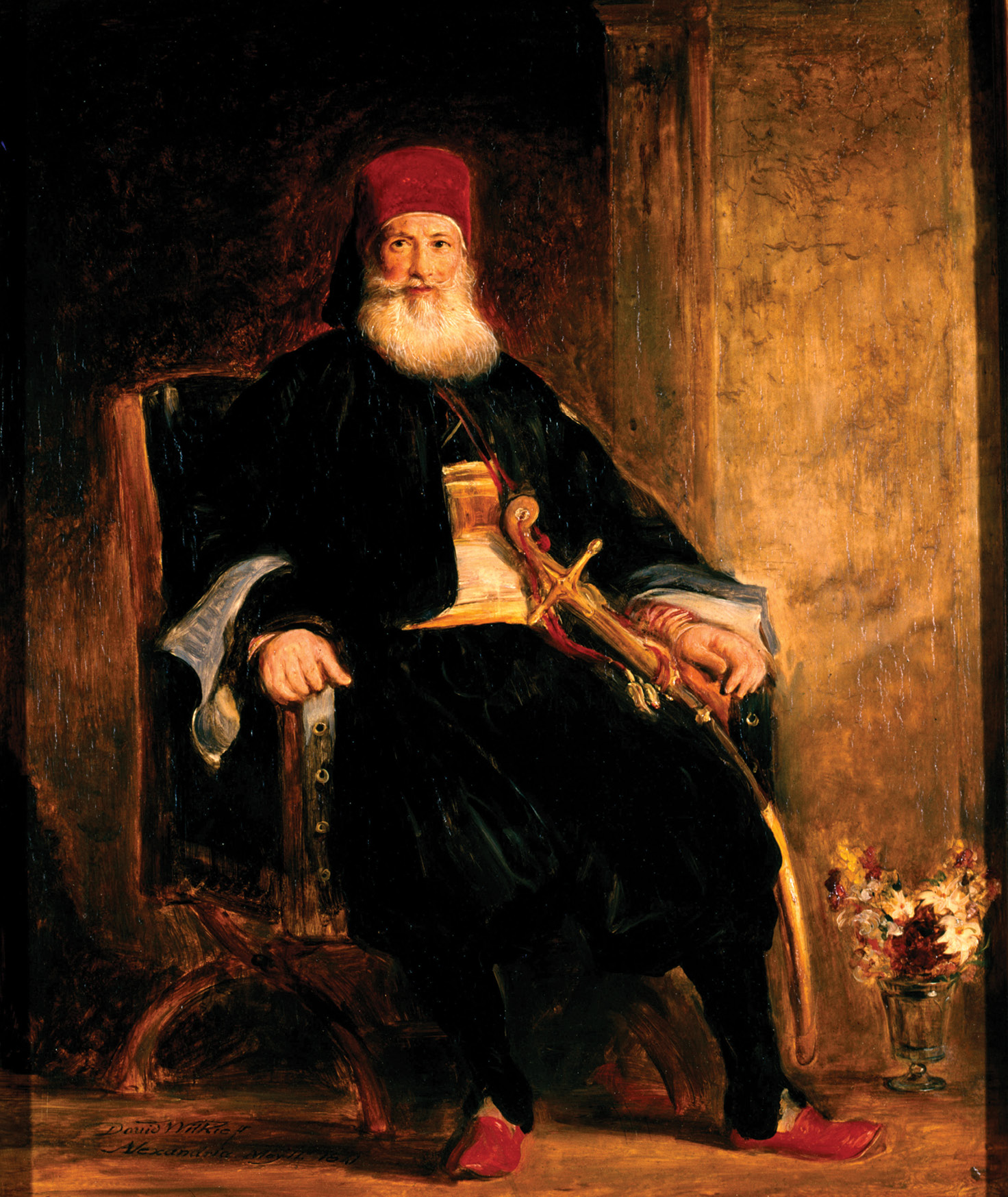 left Muhammad Ali, Pasha of Egypt, in an 1841 painting by David Wilkie.