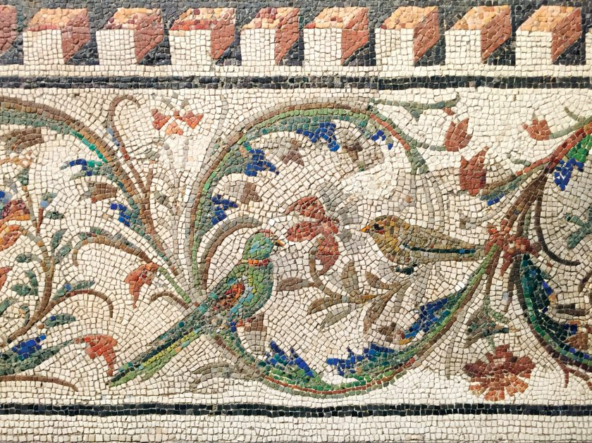 ABOVE Detail of an ornate mosaic border with birds and other creatures, found in 1888 near Via Panisperna. 1st century BC.