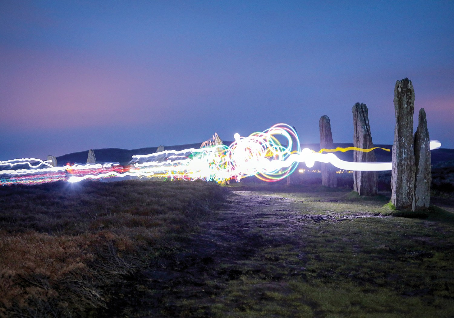 below The 'Glow in the ArchaeoDark' procession around the Ring of Brodgar, in Orkney.