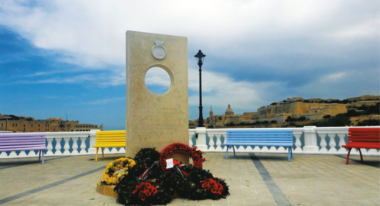 above Memorial designed by local architect Patrick Calleja to the men who perished on HMS Olympus.