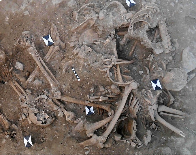 Excavations at Sidon Castle, Lebanon revealed two mass grave deposits containing partially articulated and disarticulated human skeletal remains. Image: Claude Doumet-Serhal.