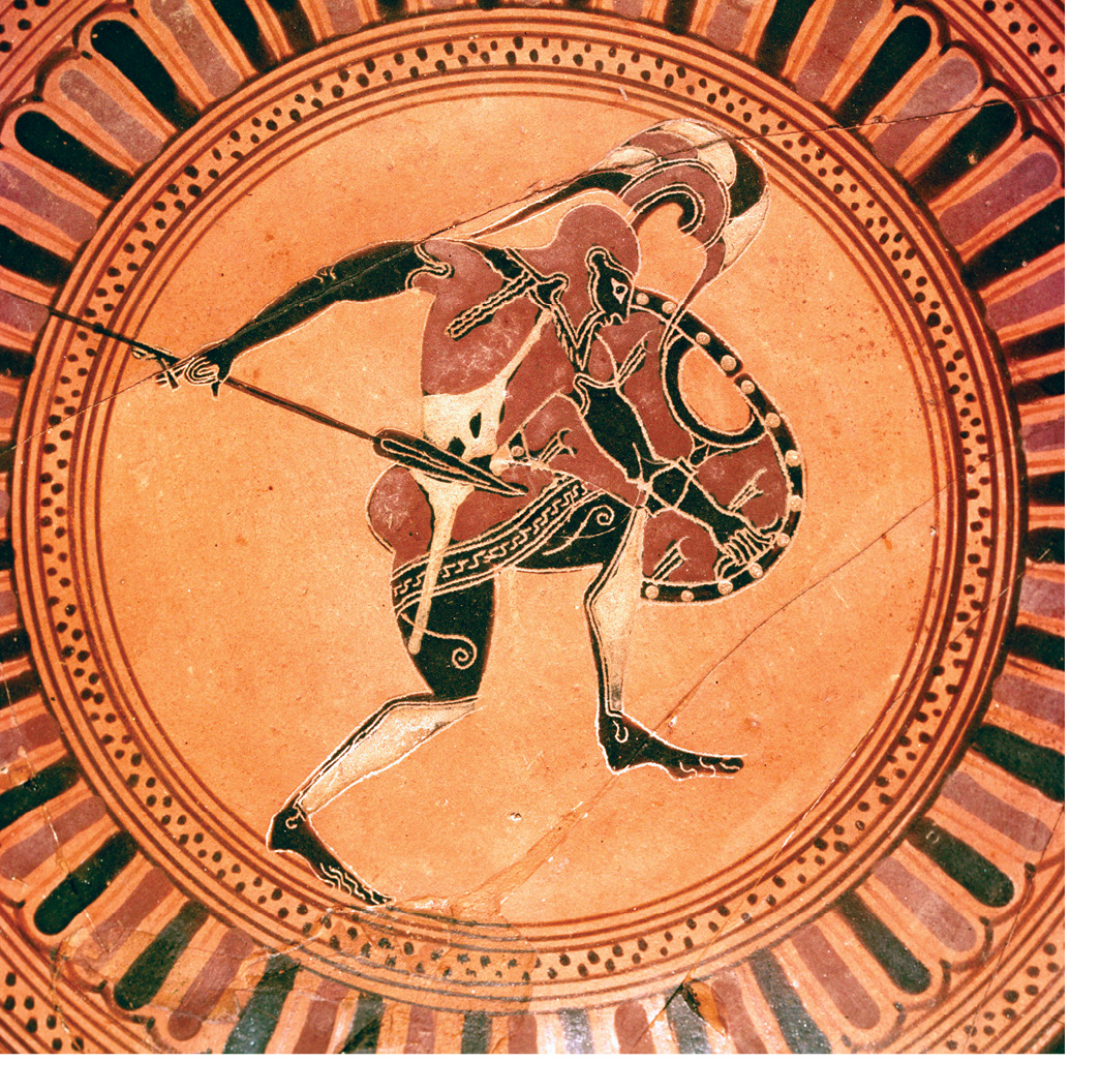 Right This 6th century BC black-figure vase painting shows a Greek city-state militiaman wearing the panoply 'all arms' of the heavy-infantry hoplite.