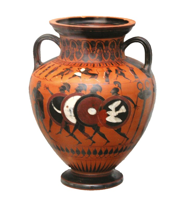 ABOVE This black-figure vase painting of a foot-race in armour shows hoplites bearing the aspis, the wide, round body-shield whose introduction revolutionised Greek warfare. RIGHT In a sense, the whole of Spartan society was configured around the hoplite. Sparta created a highly militarised culture designed to breed, sustain, train, and field armies of men like the hoplite depicted here.