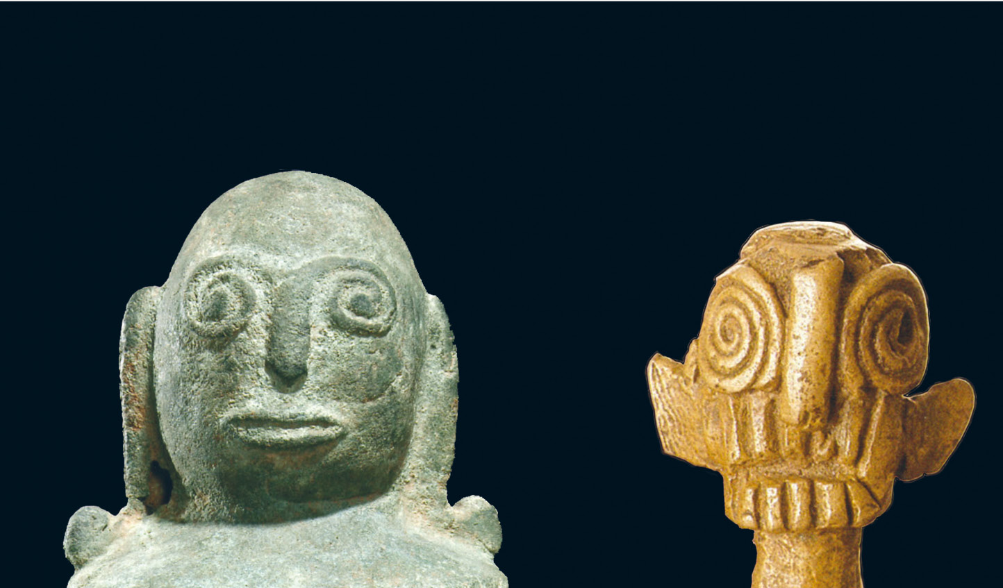 top A green-metal spiral eyed anthropomorphic figure compared with a brass figurine with simialr eyes from Central Sulawesi (18th century AD). Above A diagram showing the workings of a typical qanat.
