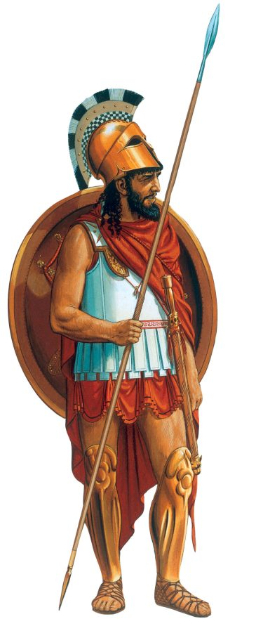 Peter Connolly's reconstruction of a Spartan hoplite shows him with body-armour of layered and stiffened linen, crested bronze helmet, bronze greaves, large round shield, 2m-long thrusting spear, and double-edged slashing sword. The Spartan phalanx was the only fully professional force in Classical Greece, but Spartan hoplites were equipped in the same way as other hoplites, except that they traditionally had red cloaks and long hair.