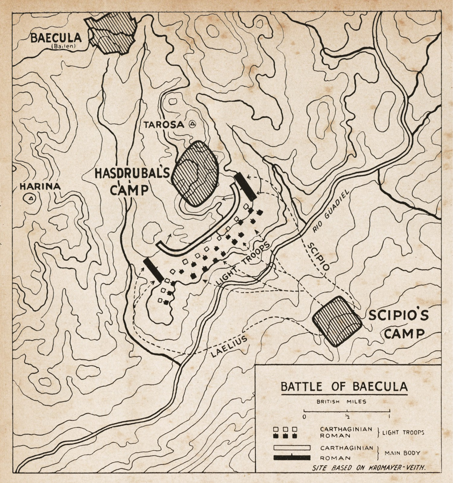 Opposite Plan of Scipio's assault on Nova Carthago (New Carthage) in 209 BC. left Plan of the Battle of Baecula, 208 BC.