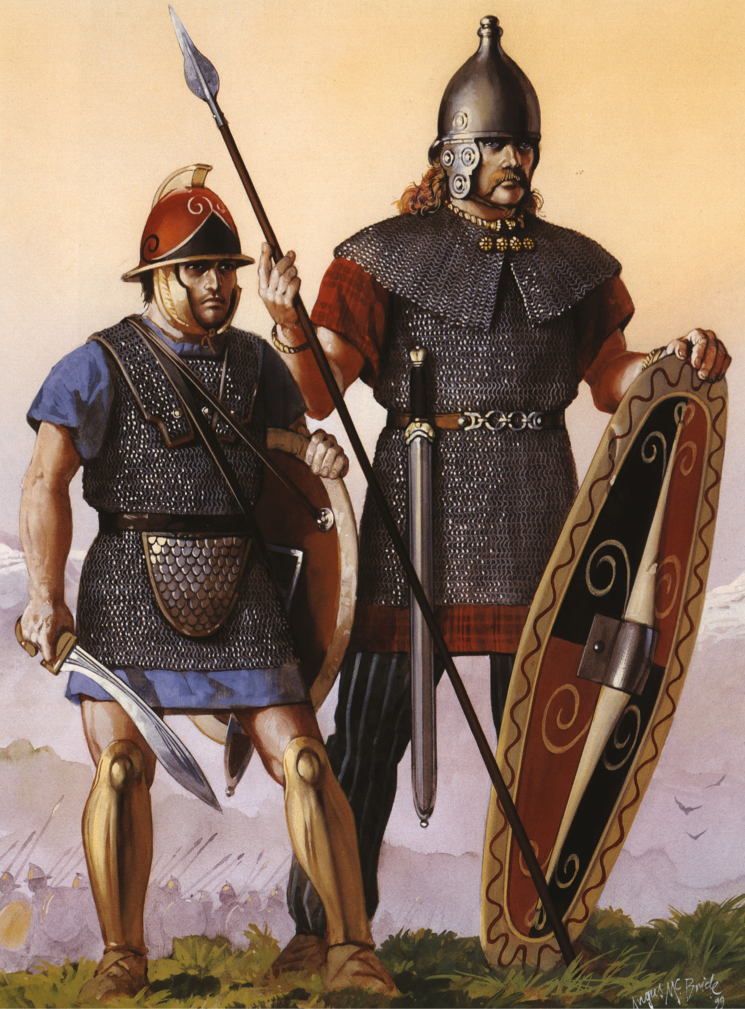 LEFT Hannibal's army was a rich ethnic mix, though virtually all his men are likely to have been heavily armoured, often wearing captured Roman kit. This reconstruction shows a Celtiberian on the left, a Gaul on the right.