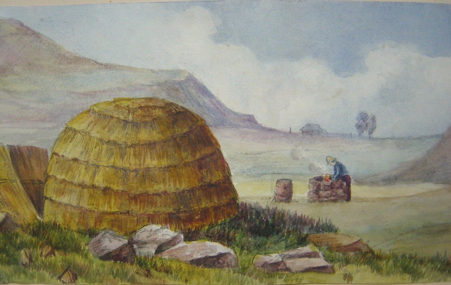 above This painting by Wells herself was titled 'Our Mess Hut at Rorke's Drift'.