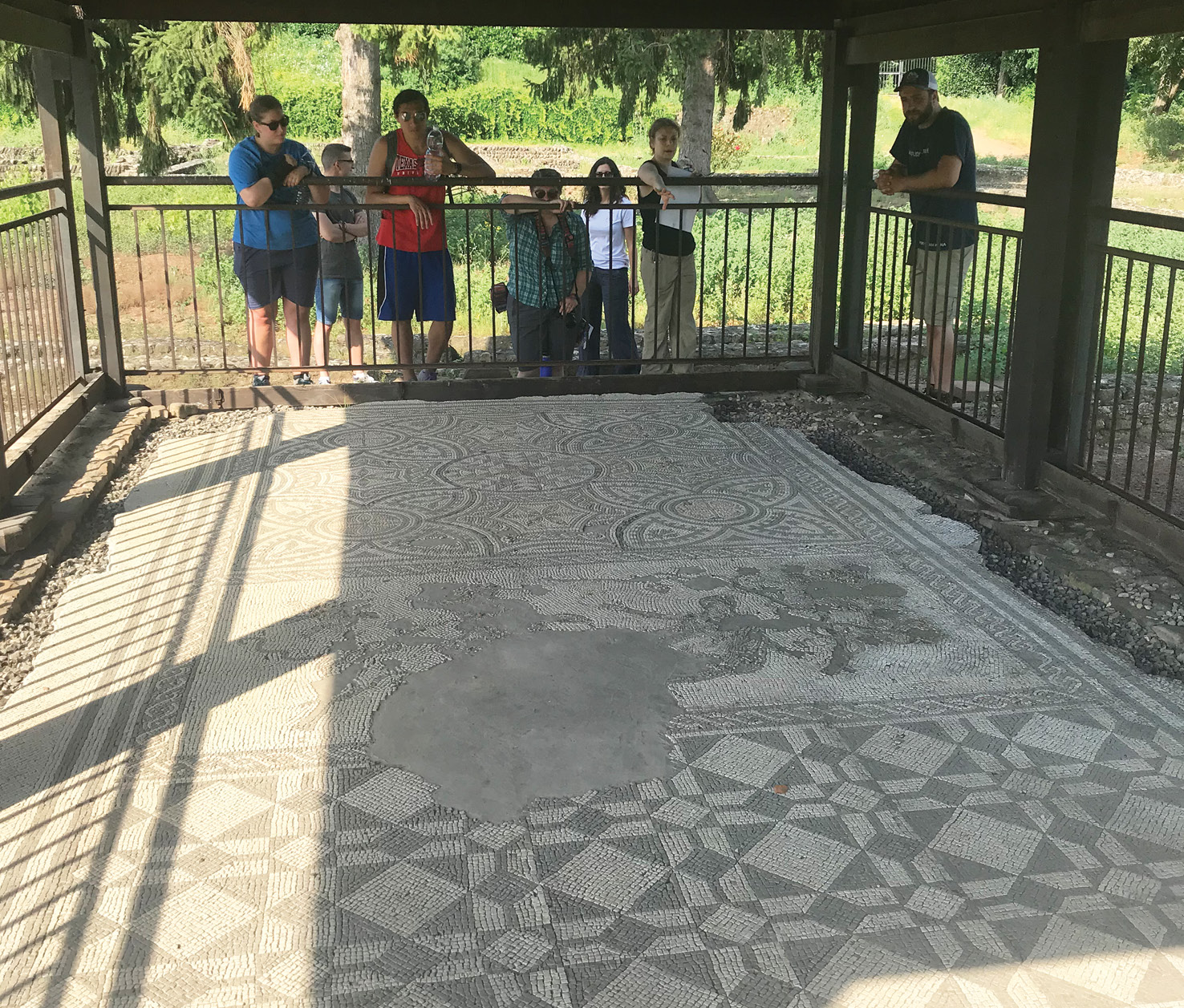 below The LULP team examining one of the mosaic floors discovered during Finocchi's excavations of the houses.