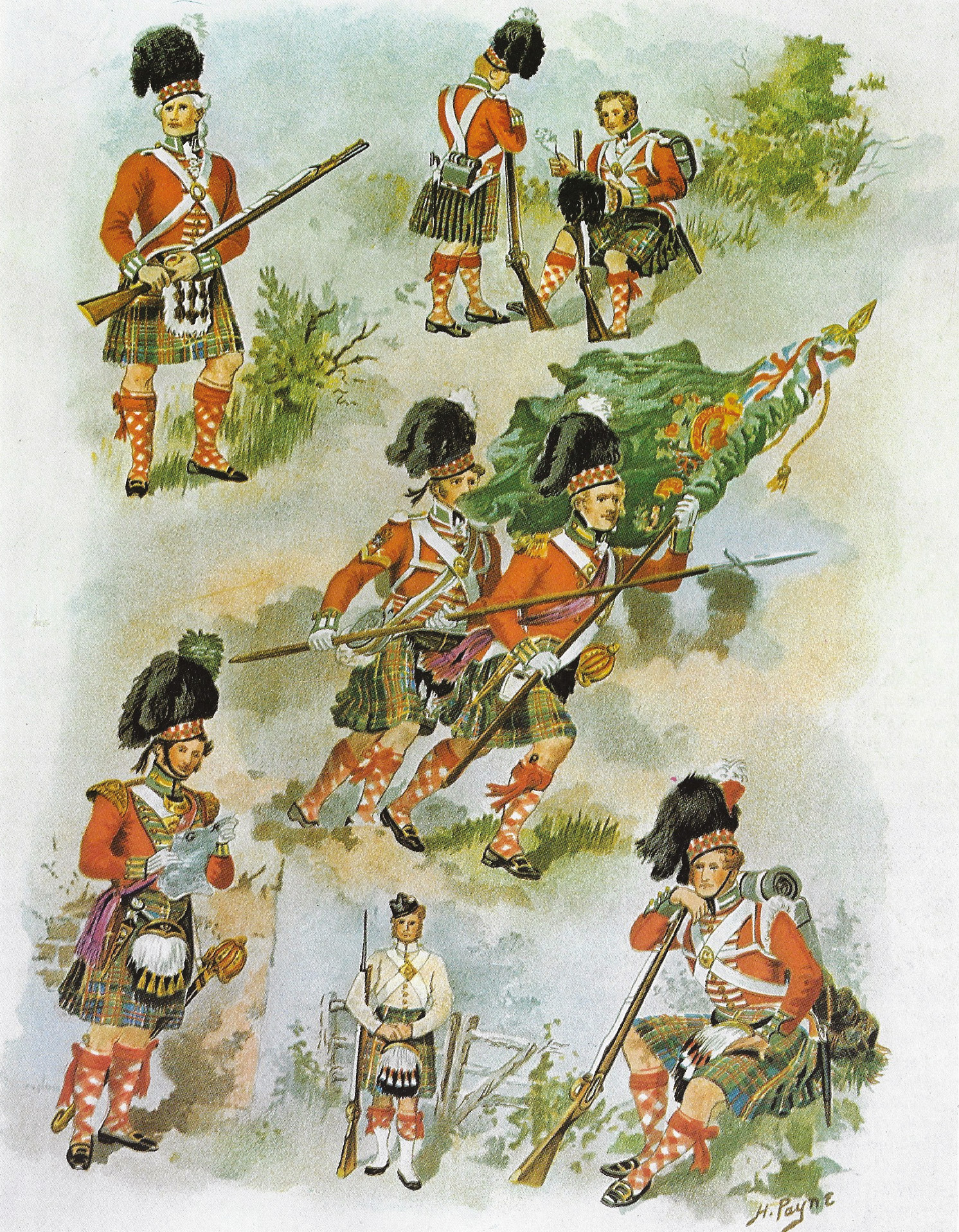 LEFT Black Watch Highlanders in uniforms dating to the Napoleonic era.