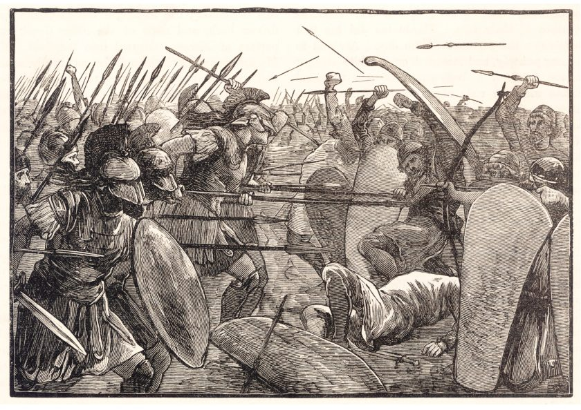 right Spartan hoplites approach the Persian wicker-shield barricade.