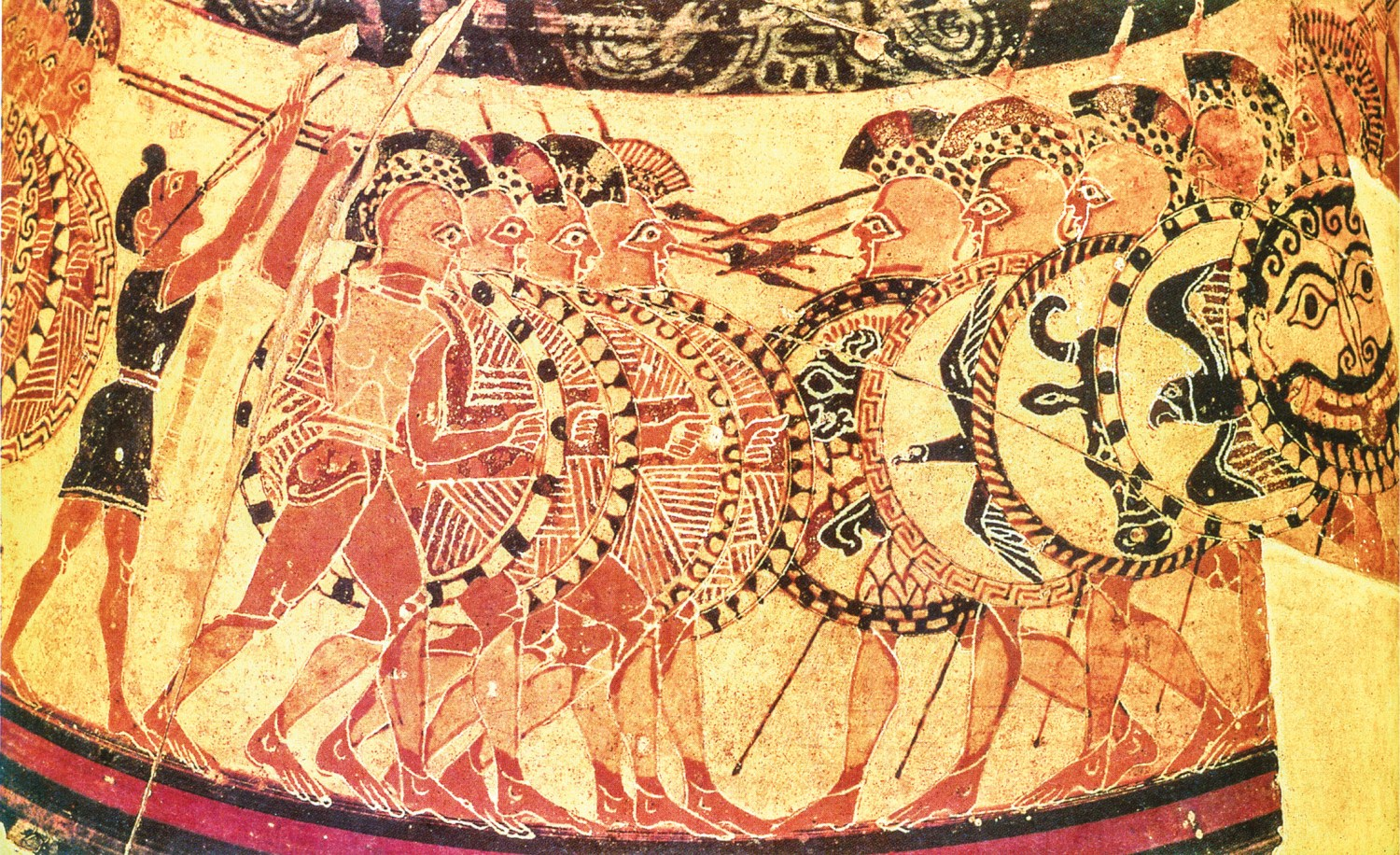 Above The famous Chigi Vase representation of two hoplite phalanxes in frontal collision on the battlefield. left Although depicting two mythic heroes fighting one another on the battlefield, this red- figure vase painting is nonetheless a highly realistic portrayal of Greek heavy infantrymen at the time of the Persian Wars.