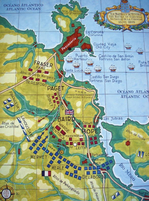 ABOVE A plan of the battle. Soult's plan had been to fix the British left at Piedralonga and attack their right through Elvina, while his cavalry would attack Corunna itself.