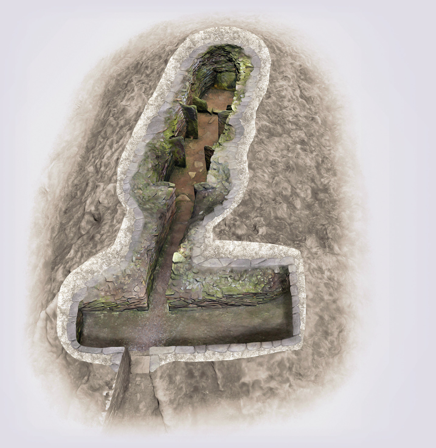 left A digital image of the Knowe of Yarso, which has been re-worked by Bob Marshall. By removing the concrete dome covering the site, he reveals the stalled cairn beneath.