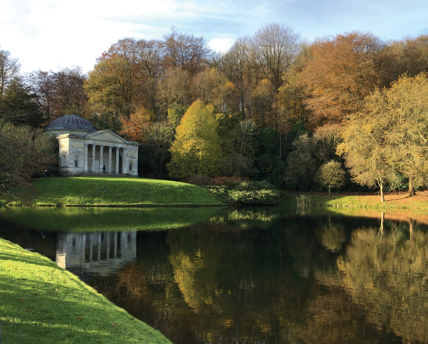 Above Garden buildings, like the Pantheon at Stourhead, Wiltshire, were carefully sited to create reflections in the lake. Many of the topographical paintings of the second half of the 18th century show the main house reflected in the lake's surface, even when this is impossible (as at Corsham Court, Wiltshire) because the house is too far from the water and at the same level with it, rather than raised.