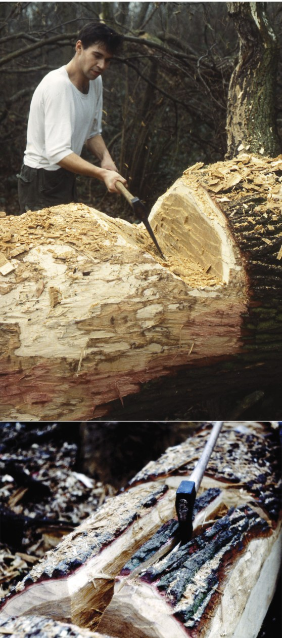 right Trimming a felled oak as the first stage in the creation of a replica logboat, in this case the Clapton logboat (see p.26).