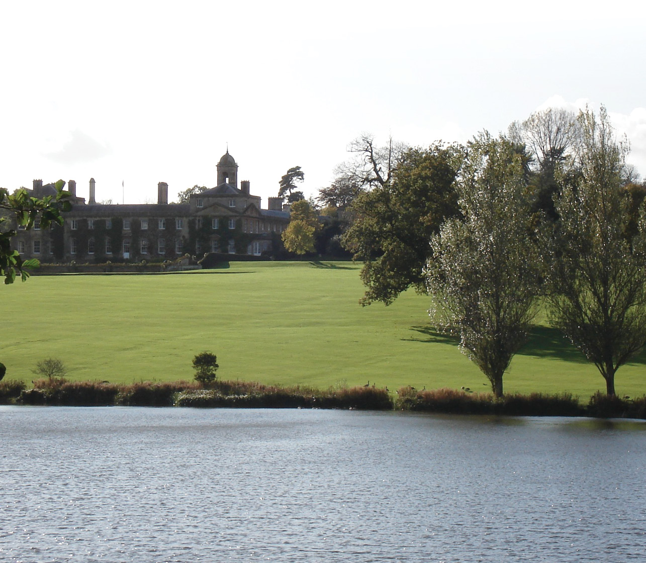 left This view of the lake at Bowood House, Wiltshire, shows the mid-18th-century ideal of a gentle slope from house to lake. Another of 'Capability' Brown's innovations was to include nitrogen-fixing and drought-resistant Dutch clover (Trifolium repens) in the grass seed mix to eliminate the need for fertiliser and ensure an attractive green sward all year round. below Another view of Bowood, Wiltshire, showing how the dam, to the right, has been disguised by tree planting, but is given away by the spillway grill that carries surplus water to the other side of the dam to prevent potentially erosive overtopping.
