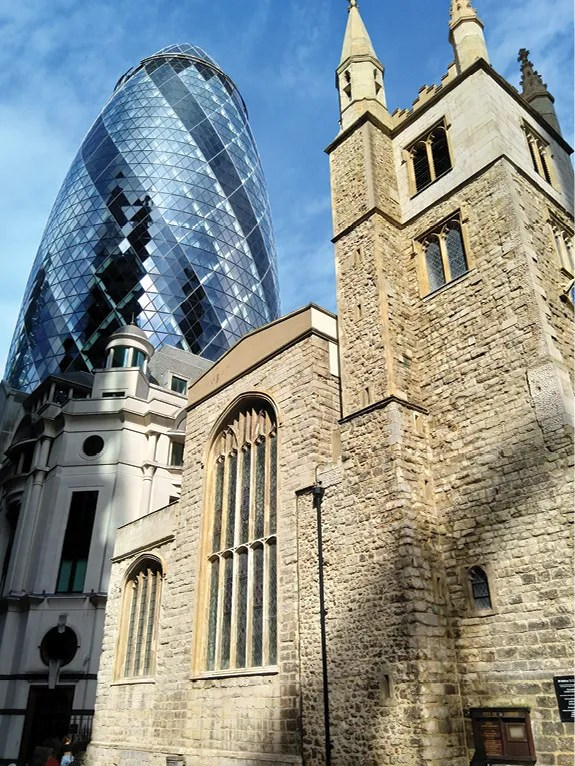 LEFT A city of contrasts: St Andrew Undershaft (named after the shaft of the maypole that once stood alongside the church) now sits in the shadow of 30 St Mary Axe (commonly known as 'The Gherkin)'.