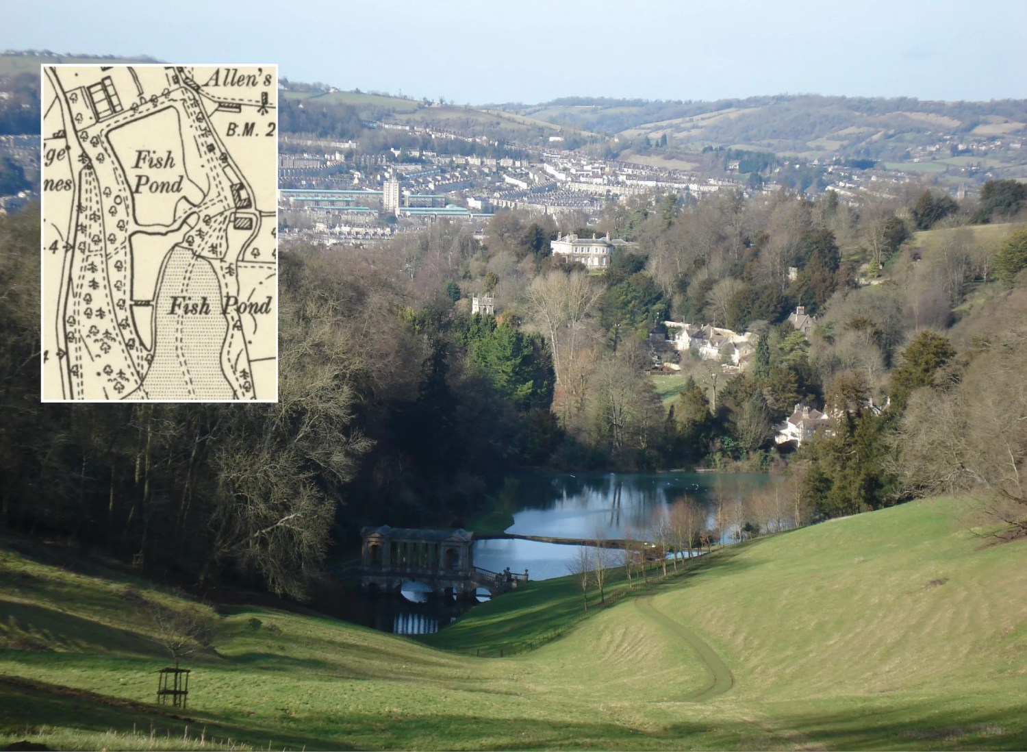 above Prior Park, on the outskirts of Bath, Somerset, is an example of a split-level lake, where two separate bodies of water (both of them former fish ponds) are made to look like one large lake by the careful siting of the dam at the change of levels.