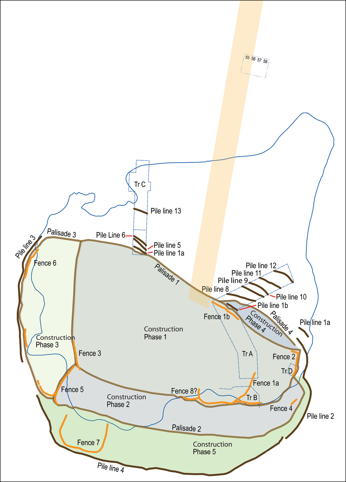 left The crannog's construction phases, showing the pile lines of the palisades, and the lines of post-and-wattle fences from the first construction phase, and five subsequent extensions as well as the line of the bridge linking the crannog to the lake shore. below Successive palisade lines, linked to the various extensions to the crannog's original platform.