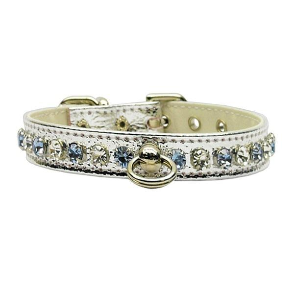Deluxe Rhinestone Dog Collar - Silver with Light Blue Stones | The Pet Boutique