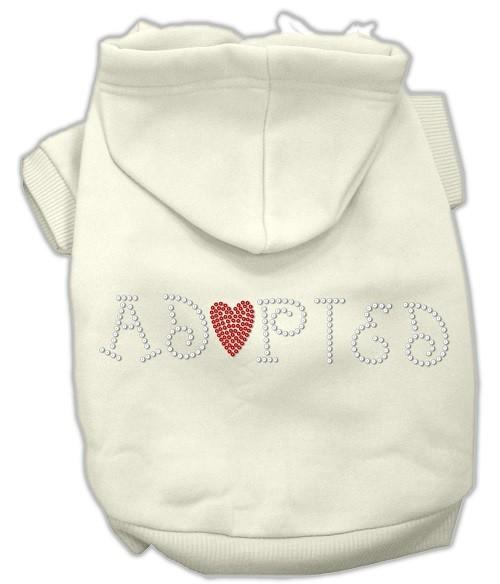 Adopted Rhinestone Dog Hoodie - Cream | The Pet Boutique