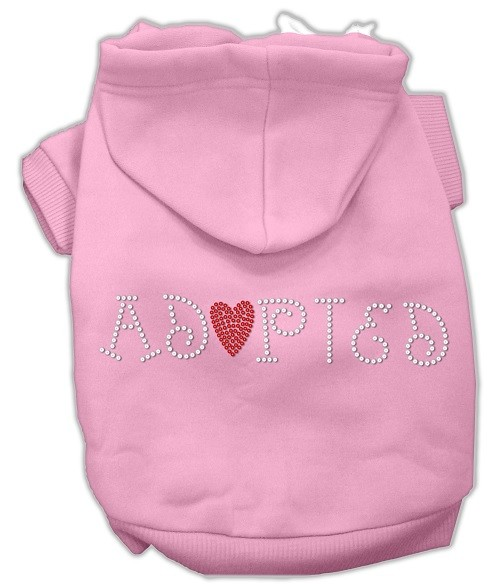 Adopted Rhinestone Dog Hoodie - Pink | The Pet Boutique