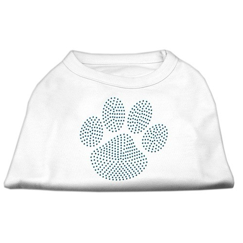 Blue Paw Rhinestud Dog Tank Top - White | The Pet Boutique
