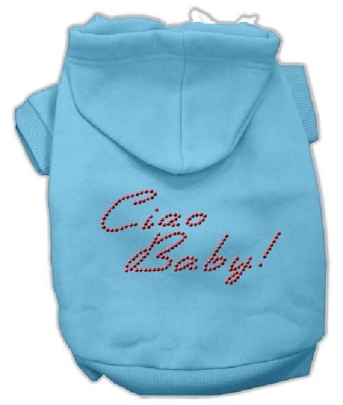Ciao Baby Rhinestone Dog Hoodie - Baby Blue | The Pet Boutique