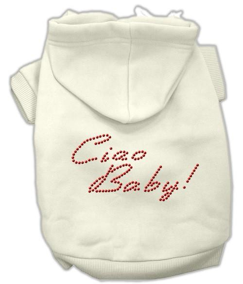 Ciao Baby Rhinestone Dog Hoodie - Cream | The Pet Boutique