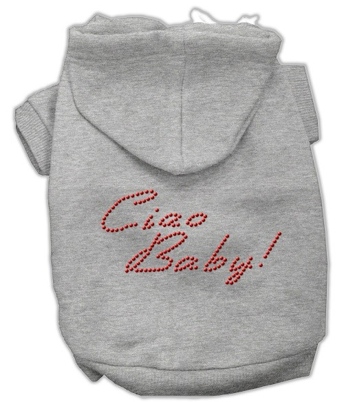 Ciao Baby Rhinestone Dog Hoodie - Grey | The Pet Boutique