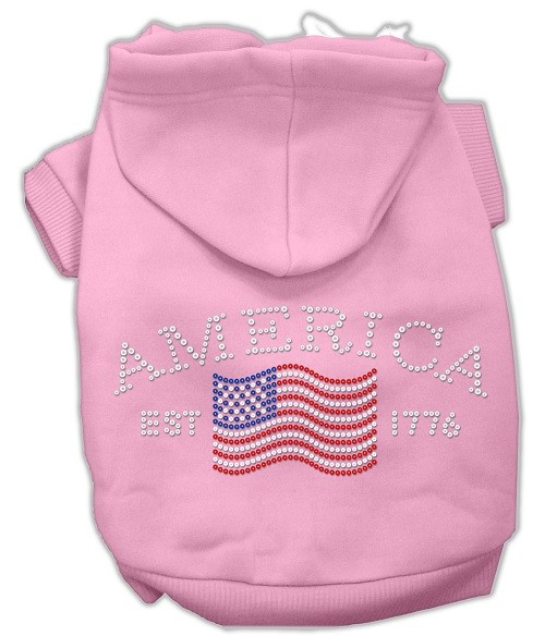 Classic American Rhinestone Dog Hoodie - Pink   The Pet Boutique