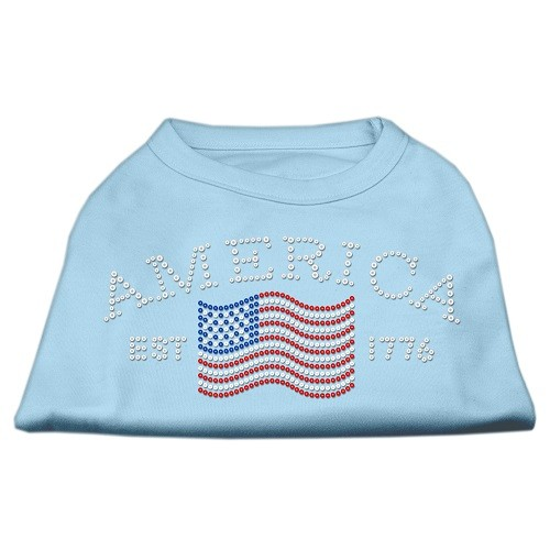 Classic American Rhinestone Dog Shirt - Baby Blue | The Pet Boutique