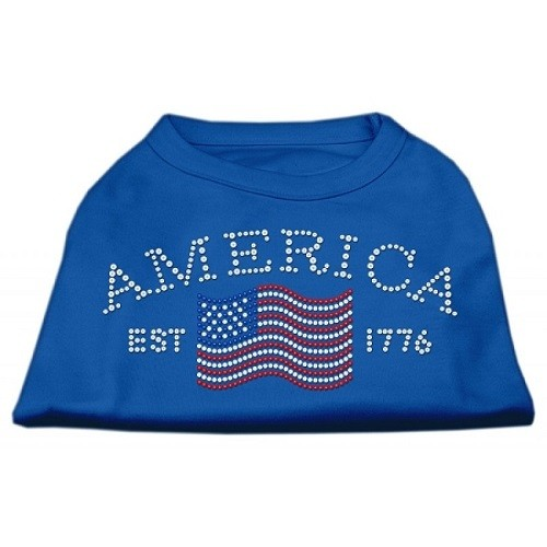 Classic American Rhinestone Dog Shirt - Blue | The Pet Boutique