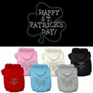 Happy St. Patrick's Day Rhinestone Dog Hoodie | The Pet Boutique