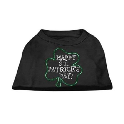 Happy St. Patrick's Day Rhinestone Dog Shirt - Black | The Pet Boutique