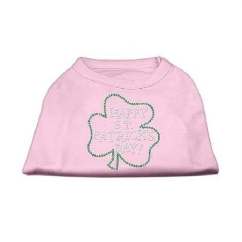 Happy St. Patrick's Day Rhinestone Dog Shirt - Light Pink | The Pet Boutique