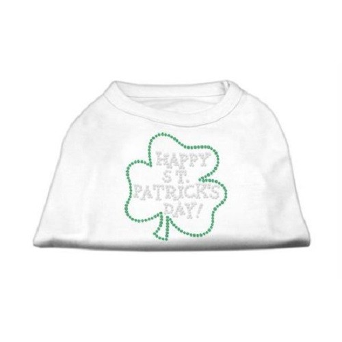 Happy St. Patrick's Day Rhinestone Dog Shirt - White | The Pet Boutique