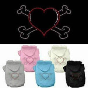 Heart and Crossbones Rhinestone Dog Hoodie | The Pet Boutique